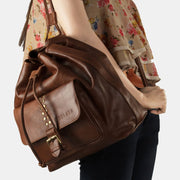 Finelaer Women Drawstring Brown Leather Backpack - Women_Bags