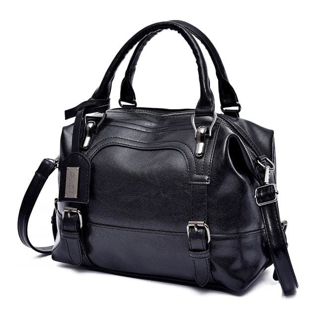Glorria Handbag Women Boston Messenger Shoulder Bag - Black / 27x13x21cm
