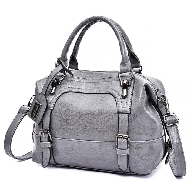 Glorria Handbag Women Boston Messenger Shoulder Bag - Gray / 27x13x21cm