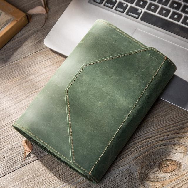 Handmade creative bullet journal planner - green / A5 23X19.5 cm - wallet