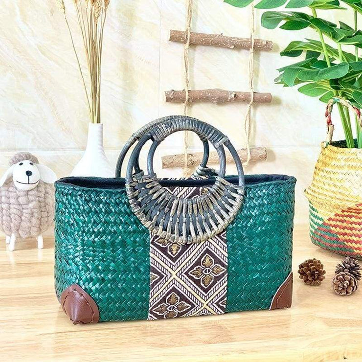 Handmade straw bag retro ethnic style