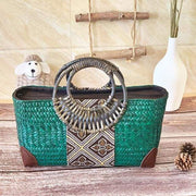 Handmade straw bag retro ethnic style - green / S 28x10x16cm