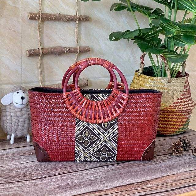 Handmade straw bag retro ethnic style - red / L 32x12x21cm