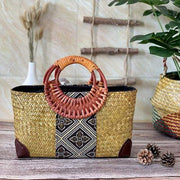 Handmade straw bag retro ethnic style - yellow / S 28x10x16cm