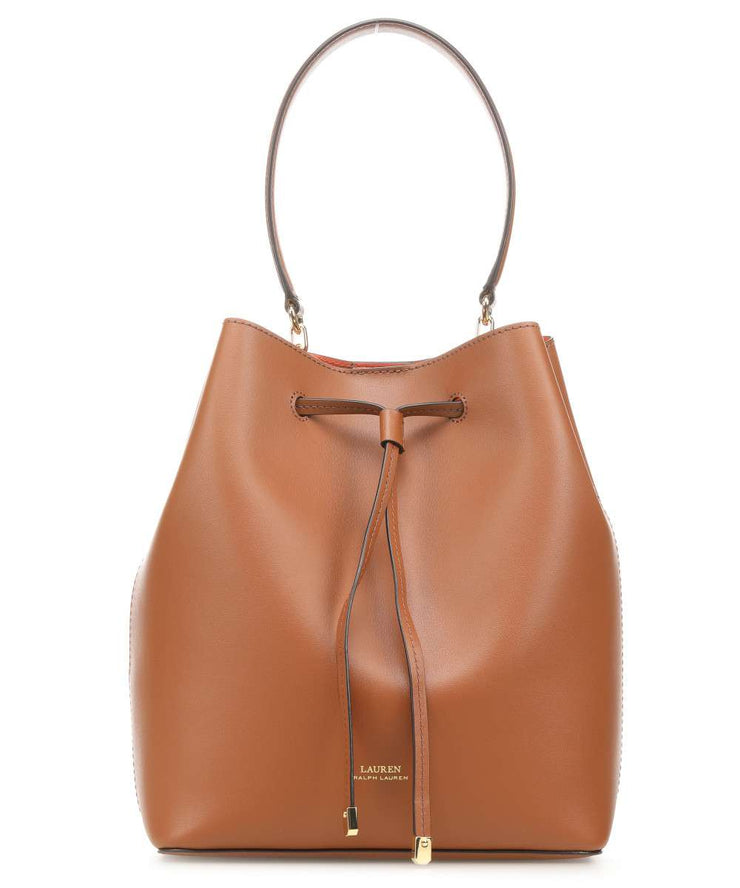 RALPH LAUREN Dryden Debby Bucket bag smooth cow leather cognac