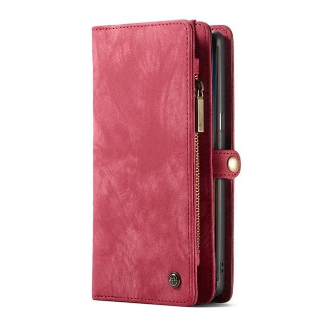 Leather fundas wallet case - for Galaxy Note 9 / Red - wallet