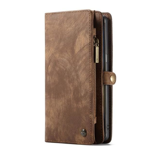 Leather fundas wallet case - for Galaxy S7 Edge / Brown - wallet