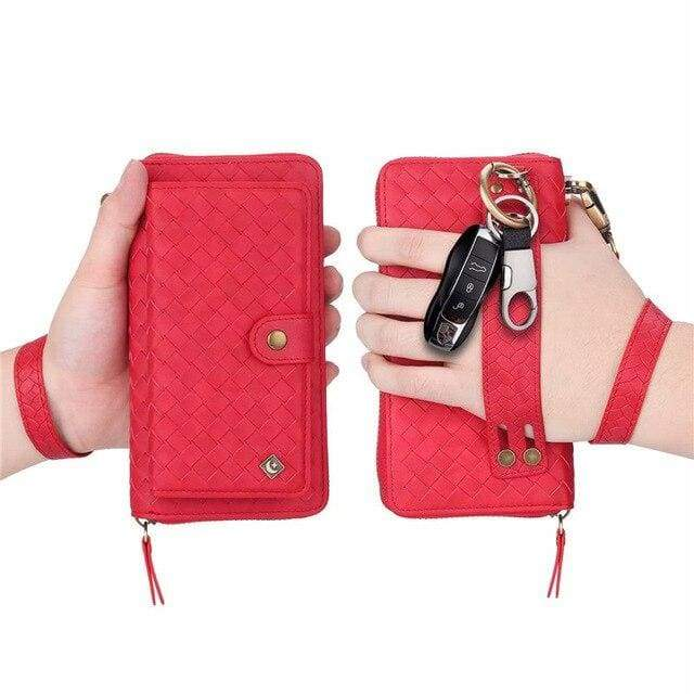 Leather zipper wallet card - For iPhone 7 / Red-BZW - wallet