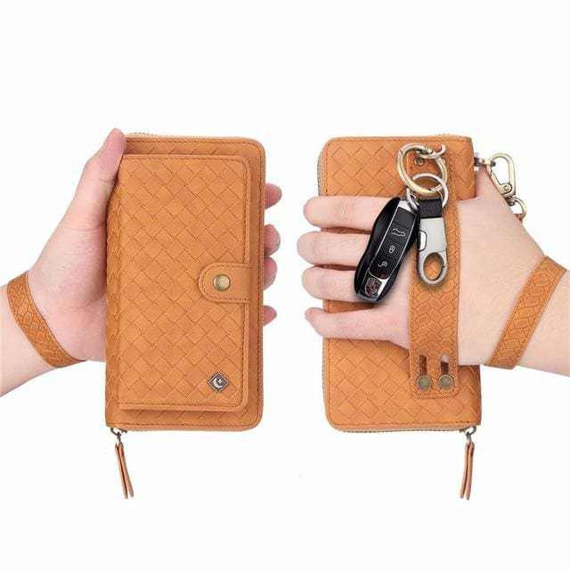 Leather zipper wallet card - For iPhone XS / Brown-BZW - wallet