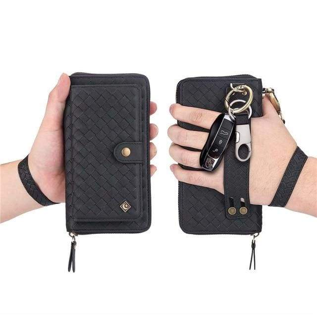 Leather zipper wallet card - For Samsung S10e / Black-BZW - wallet