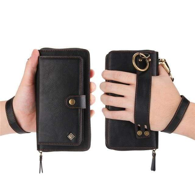 Leather zipper wallet card - For Samsung S10e / Black-PU - wallet