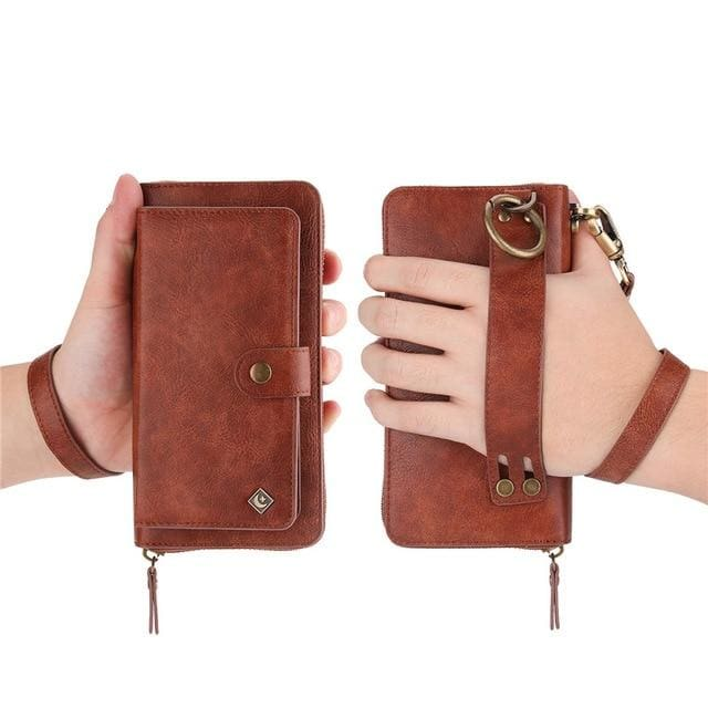 Leather zipper wallet card - For Samsung S10e / Brown-PU - wallet