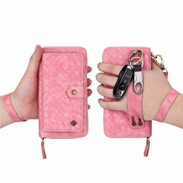 Leather zipper wallet card - For Samsung S10e / Pink-BZW - wallet