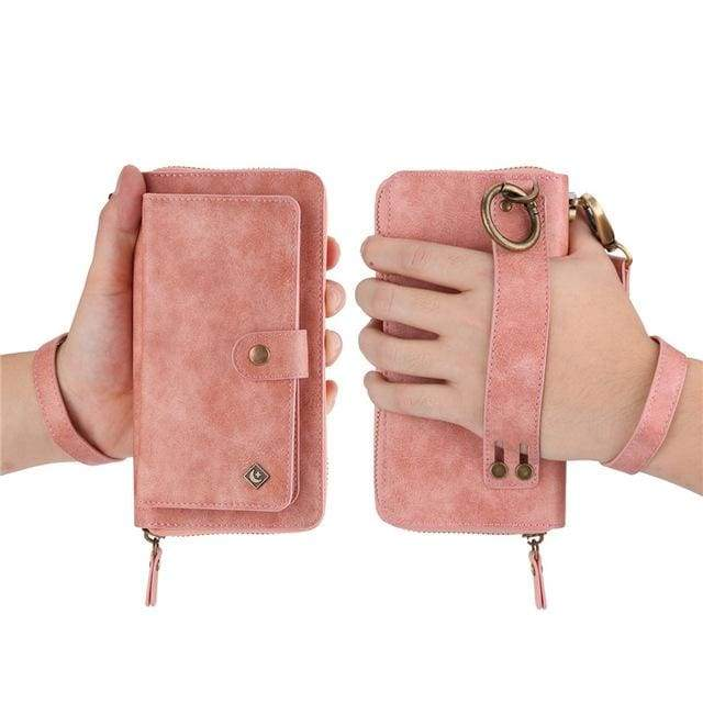 Leather zipper wallet card - For Samsung S10e / Pink-PU - wallet
