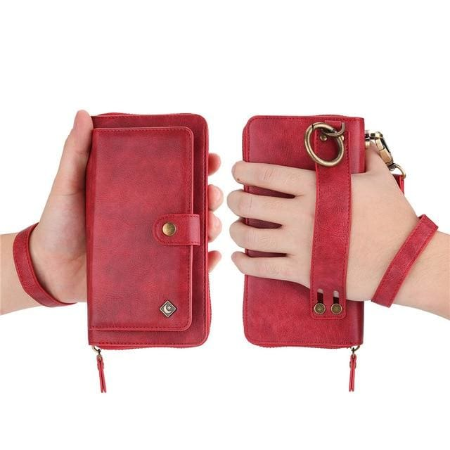 Leather zipper wallet card - For Samsung S10e / Red-PU - wallet