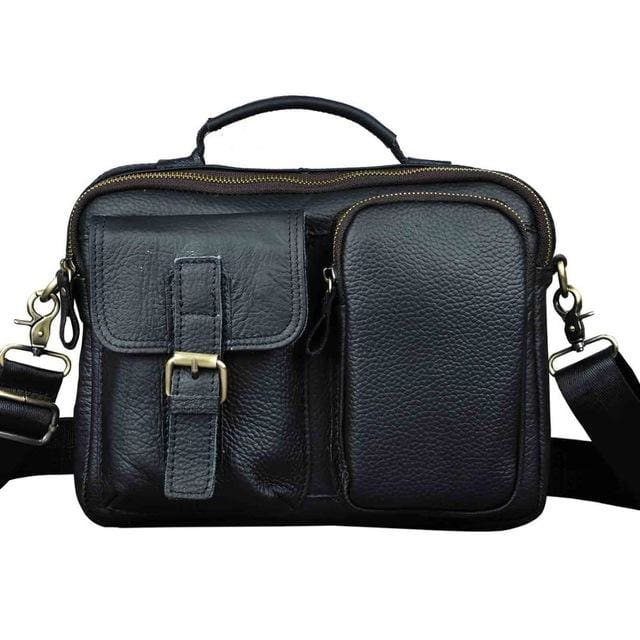 Male shoulder messenger bag cowhide - black - Men_Briefcase