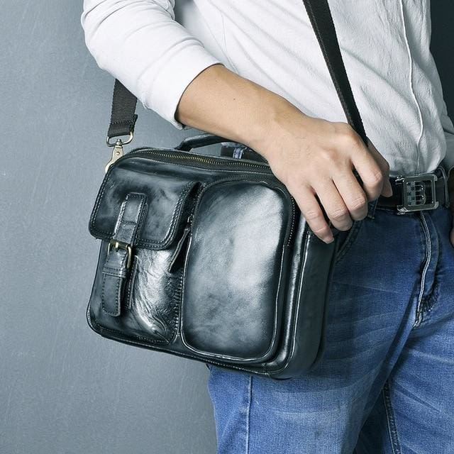 Male shoulder messenger bag cowhide - blue-black - Men_Briefcase