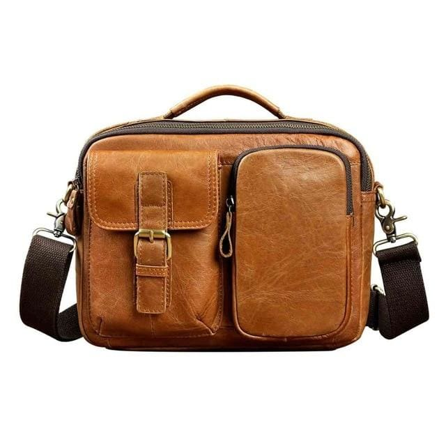 Male shoulder messenger bag cowhide - brown - Men_Briefcase