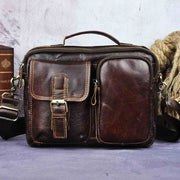 Male shoulder messenger bag cowhide - coffee - Men_Briefcase