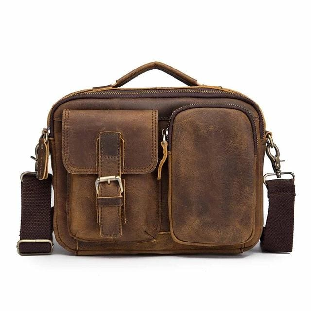 Male shoulder messenger bag cowhide - dark brown 2 - Men_Briefcase