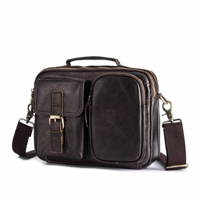 Male shoulder messenger bag cowhide - dark coffee 2 - Men_Briefcase