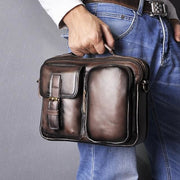 Male shoulder messenger bag cowhide - dark coffee - Men_Briefcase