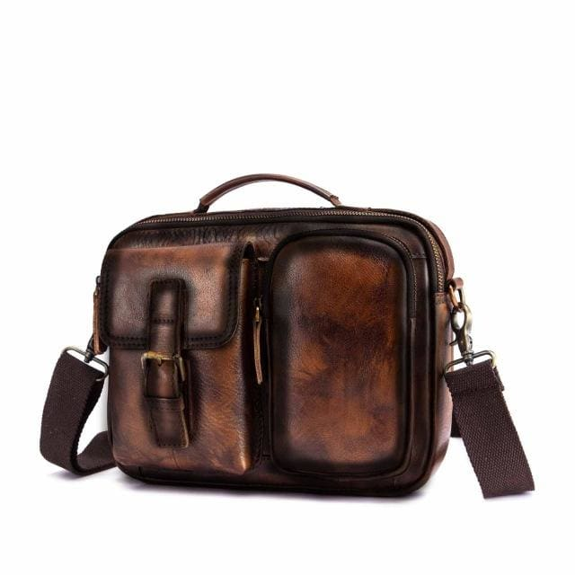 Male shoulder messenger bag cowhide - gold 2 - Men_Briefcase