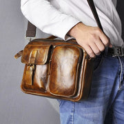Male shoulder messenger bag cowhide - gold - Men_Briefcase