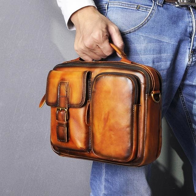 Male shoulder messenger bag cowhide - orange - Men_Briefcase