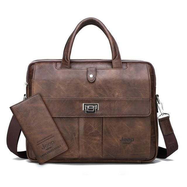 Man briefcase big size 15 inches laptop bags - Set Brown - Men_Briefcase