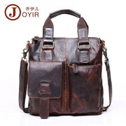 Men briefcase leather business bag - chocolate crazyhorse