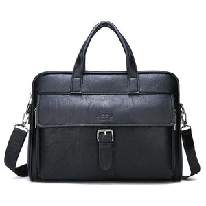 Men business briefcase bag split leather - Only bag-Black