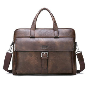 Men business briefcase bag split leather - Only bag-Brown