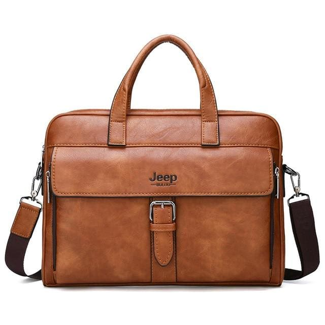 Men business briefcase bag split leather - Only bag-Orange