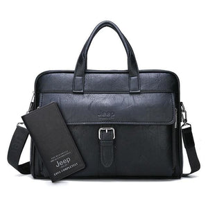 Men business briefcase bag split leather - Set-Black
