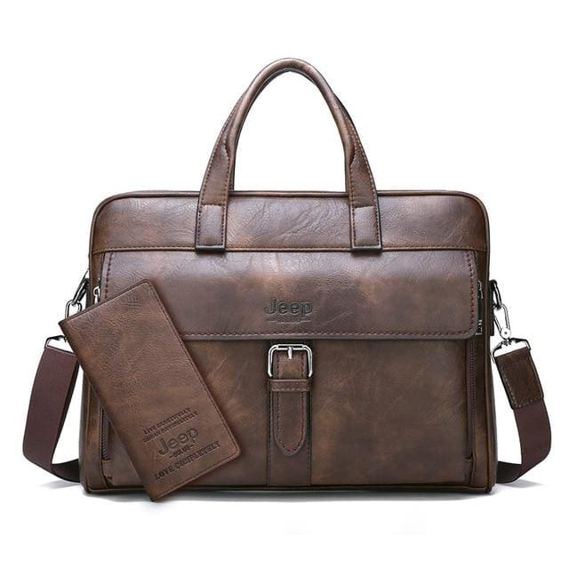 Men business briefcase bag split leather - Set-Brown