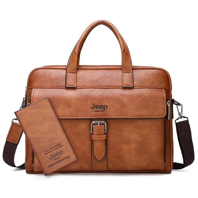 Men business briefcase bag split leather - Set-Orange