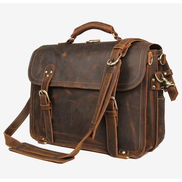 Men handbag vintage crazy horse leather messenger bag - brown 1 - Men_Briefcase