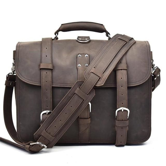 Men handbag vintage crazy horse leather messenger bag - dark brown 2 - Men_Briefcase