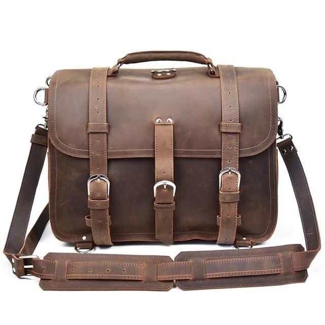 Men handbag vintage crazy horse leather messenger bag - light brown 2 - Men_Briefcase