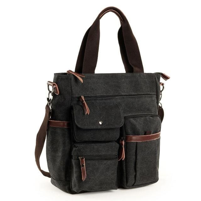 Men large canvas tote waterproof bags - Black - Men_Briefcase