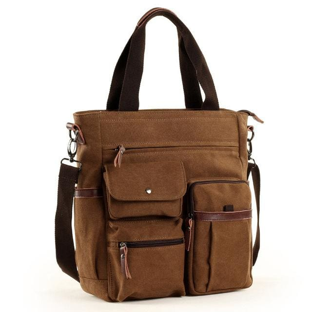 Men large canvas tote waterproof bags - Brown - Men_Briefcase