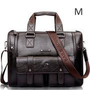 Men leather black briefcase business messenger bags - Dark brown M