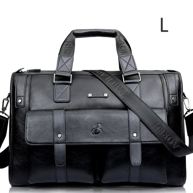 Men leather black briefcase business messenger bags - Black L