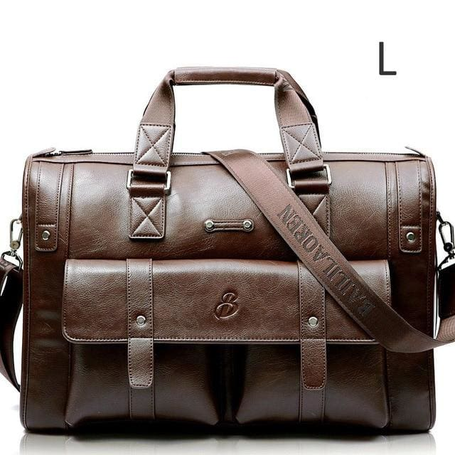 Men leather black briefcase business messenger bags - Light brown L