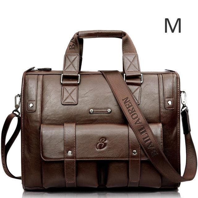 Men leather black briefcase business messenger bags - Light brown M