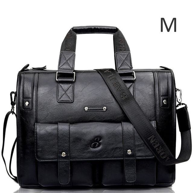 Men leather black briefcase business messenger bags - Black M
