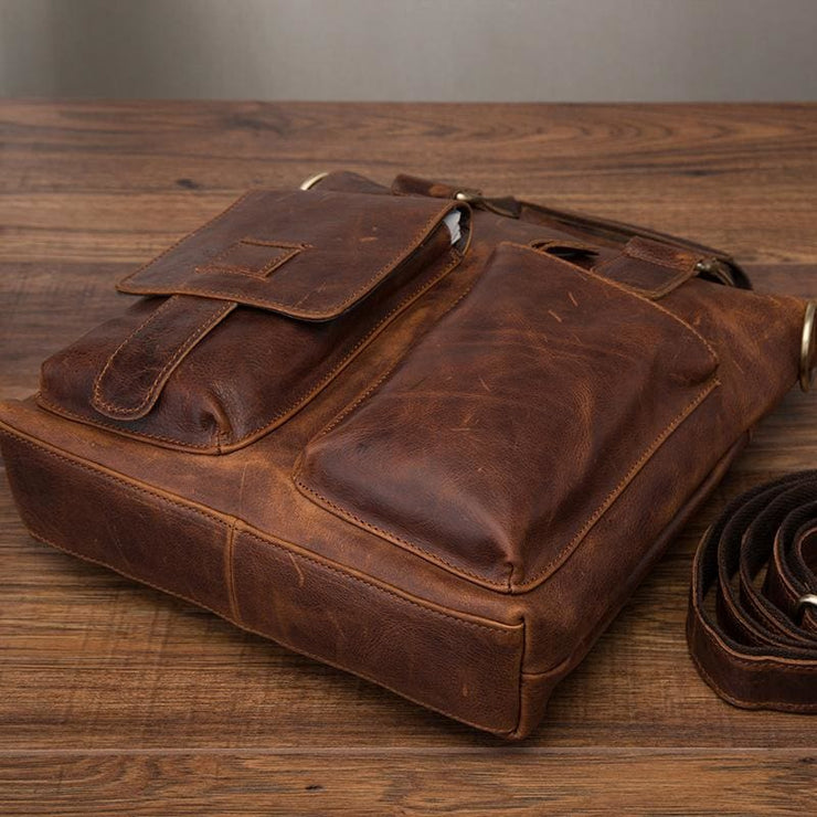 Men quality leather antique retro business briefcase