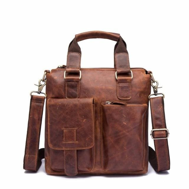 Men quality leather antique retro business briefcase - brown
