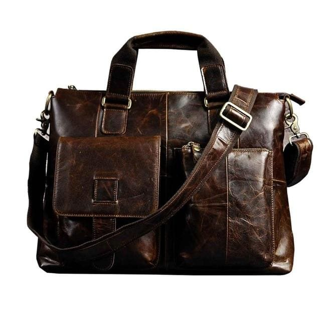 Men quality leather antique retro business briefcase - coffee